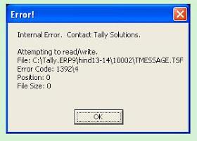 Internal Error – Contact Tally Solutions.
